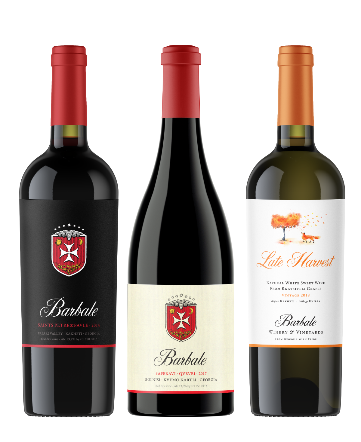 Barbale Late Harvest Red, Barbale Chinuri, Barbale Kakhetian Saperavi